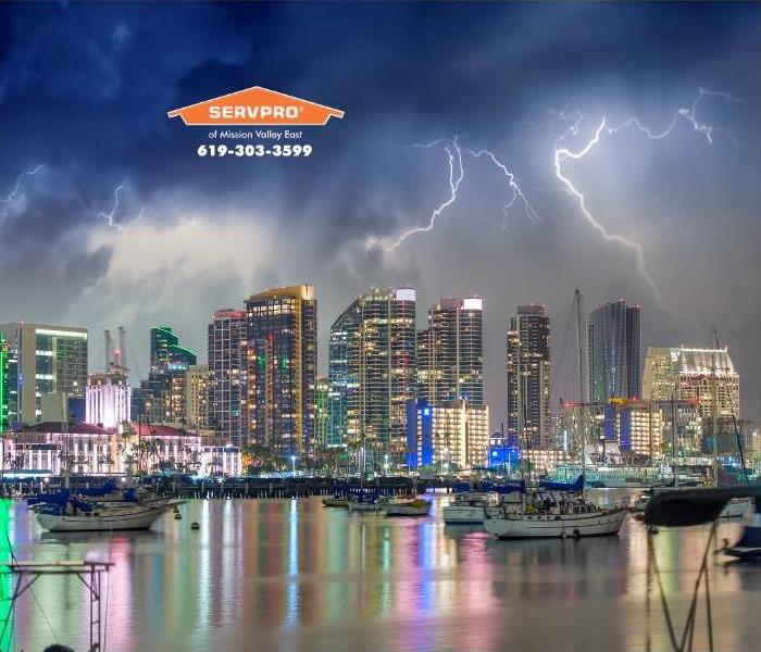 night-time thunderstorm over San Diego